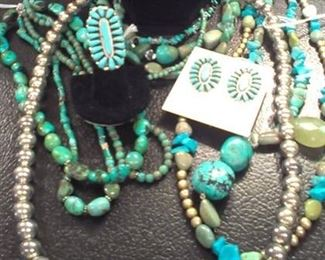 Lrg selection of Navajo Sterling Turquoise jewelry