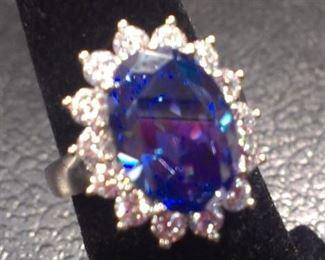 Sterling blue topaz gemstone w CZs ring, lrg