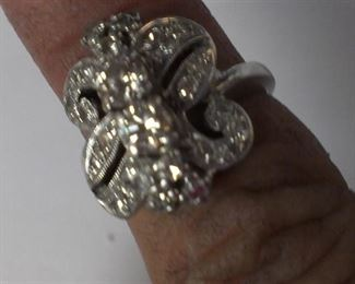 DIAMONDS 14k white gold vintage estate ring- better come early, it will sell like hotcakes!!!
