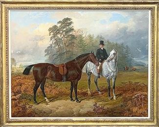 Lot 257: James Walsham Baldock Oil on Canvas. Equestrian Landscape