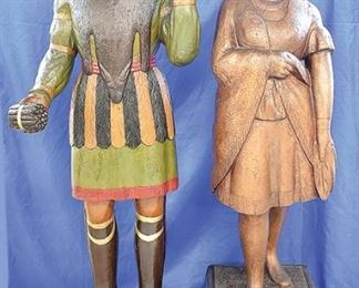 Lots 142 and 143: Two 19th C. Carved Cigar Store Indians with polychrome decoration.