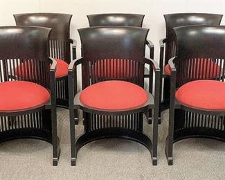 "Lot 392: Set of Six Frank Lloyd Wright for Cassina ""Taliesin"" Chairs"