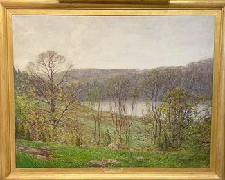 "Lot 327: Robert Hogg Nisbet. Oil on Canvas, ""May Morning"""