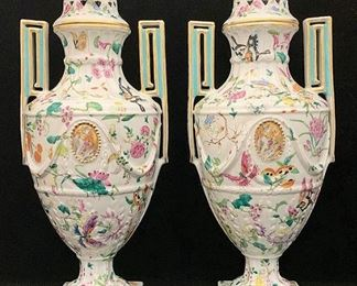 Lot 3: Pair of Large 19th C. Chinese Famille Rose Porcelain Covered Vases