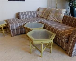 sectional and mid century hexagonal tables...can be configured various ways