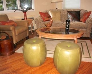 Mitchell Gold Leather Chairs, Round Wood & Glass Coffee Table, Accent Pillows, Pair of Rounds, and Vintage Bucket with Handle, Wood Duck Figurine and other Decorative