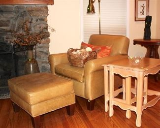 Mitchell Gold Leather Chair with Wood Stacking Tables and other Furnishings