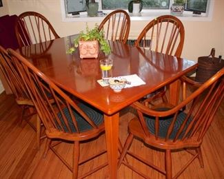 Wood Table and 6 Spindle Back Chairs