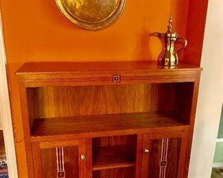 Inlaid  wood cupboard bookcase