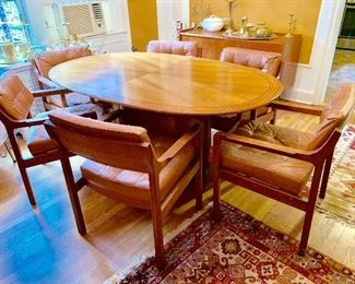 MCM dining room table and 6 mid century chairs