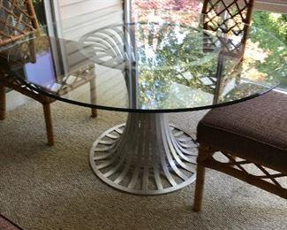 Russel Woodard Aluminum Glass Top Table