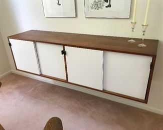 """Knoll Floating Wall-Mounted Credenza / Side board with leather pulls 72""""L x 18""""D"""