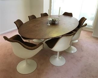 """Knoll Tulip Saarinen Dining / Confeence Table 95""""L x 54""""W x 28""""H, also set of 8 Knoll Saarinen  tulip  chairs upholstered in brown"""