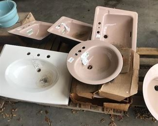 Mocha, white, beige, and Regency Blue sinks available