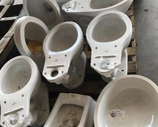 Many different brands and styles of commercial and residential toilets and urinals