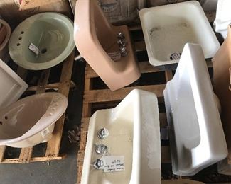 Vintage cast iron sinks in a few colors with original hardware/plumbing