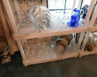 Crystal dishes, cobalt Bavarian cut glassware