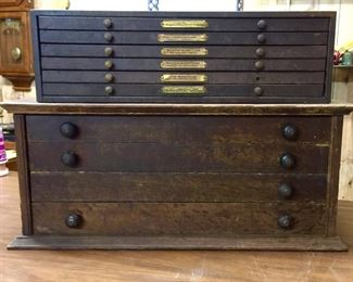 Vintage watch crystal and parts storage cabinets