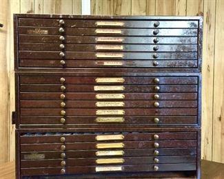 Vintage watch parts storage cabinets
