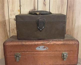 Vintage metal tackle or tool boxes