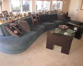 Custom Dark Green Stunning Sectional Sofa