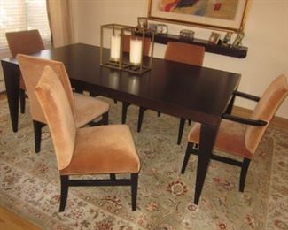 Black Dining Table with 6 Plush Chairs