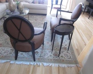 Barbara Barry For Baker Furniture Oval X-Back Dining Side Chairs PAIR with Mahogany Side Table Oval