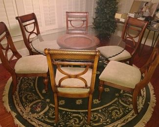 Breakfast table and 6 chairs. Rug for sale too