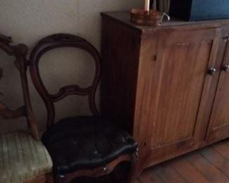 two door cupboard & Victorian chairs