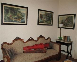 Empire sofa, 2 violins, 3 large Currier & Ives prints & marble top side table