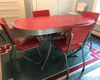 red vintage table chairs