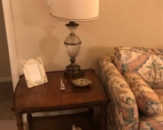 1 of a pair of end tables and lamps