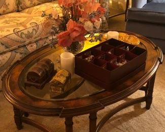 Matching oval beveled glass top coffee table