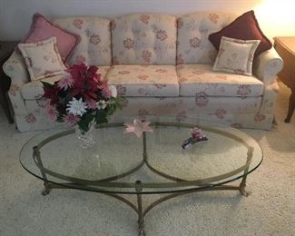Very nice Traditional Sofa, Glass Coffee Table.