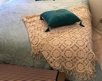 King brass headboard with nearly new mattress