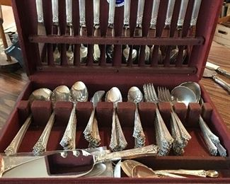 Heirloom Sterling silver set, Damask Rose pattern. Place setting for 12. 108 pieces total. No monograms. Over 8 pounds of sterling silver!
