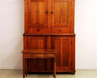 American Cherry & Walnut Stepback Cupboard, Maple Writing Table