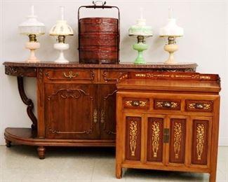 Mahogany Sideboard, Japanese Chest, Aladdin Lamps