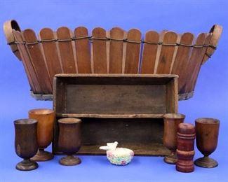 Shaker picket fence basket, Treenware, Knife box