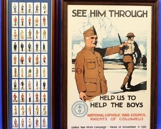 """WWI Poster, Complete Series (50) of Players Cigarette Cards """"Military Uniforms of the British Empire Overseas"""""""
