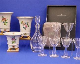 Steuben Teardrop Sherry Glasses & Decanter, Herend Flower Pots