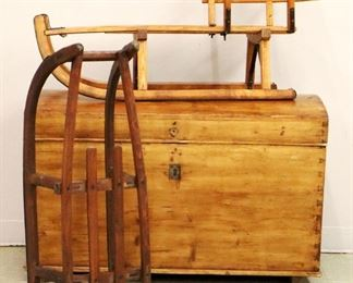 Pine Trunk, Wooden Sleds