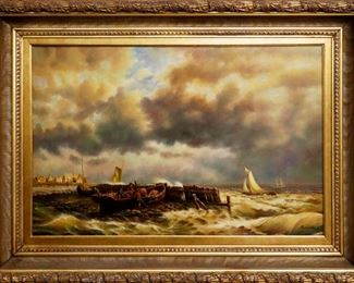 E. Ponthier (American, 20th c.), Seascape, Oil on canvas, signed lower right