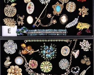 Costume Jewelry, pins earrings, etc.