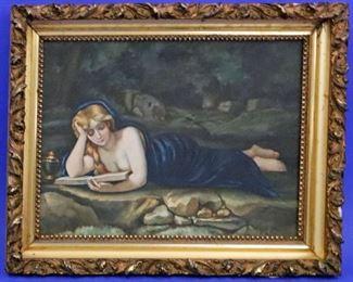 "Penitent Magdalene watercolor, Monogrammed ""MHW"""