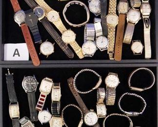 Watch Lots. A) Elgin, Benrus, Gruen, etc. B) Hamilton, Illinois, Tip-top, Bulova, etc.