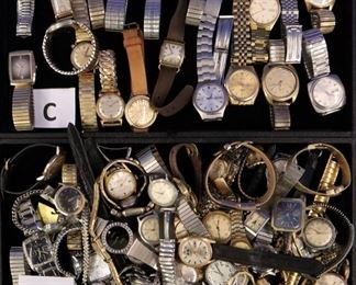 Watch Lots. C) Bulova, Gruen, Seiko,  etc, D) Helbros, Timex, etc.