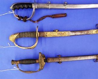 Swords: (Top to Bottom) 1934 CCC Presentation Sword, Knights of Pythias, G.A.R.
