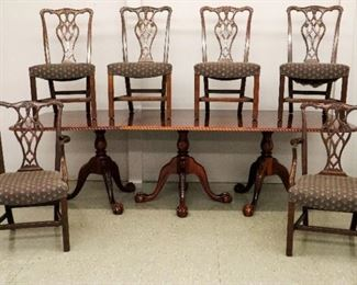 """3 Pedestal Mahogany Dining Table (47"""" wide, 109"""" long, 2 24"""" leafs) & 6 Mahogany Dining Chairs"""