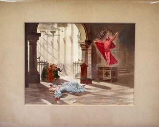"""W. de Leftwich-Dodge """"Faust"""" Watercolor, signed & dated 1881"""